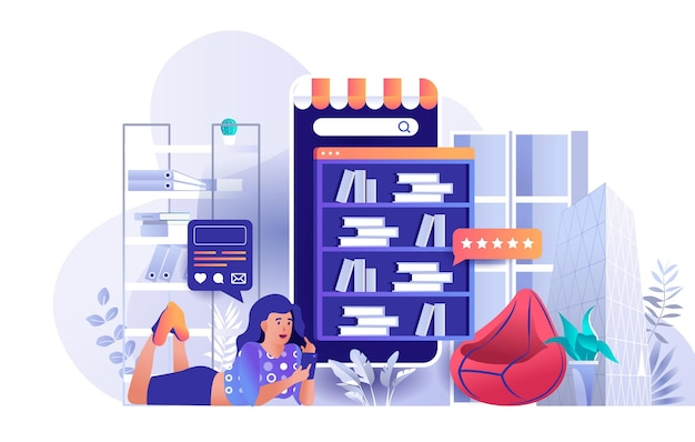 Online library flat design concept illustration of people characters