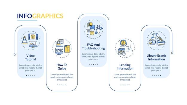 온라인 도서관 헬프 라인 인포 그래픽 템플릿. 비디오 튜토리얼 프레젠테이션 디자인 요소. 5 단계의 데이터 시각화. 타임 라인 차트를 처리합니다. 선형 아이콘이있는 워크 플로 레이아웃