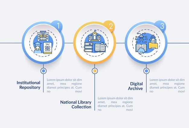オンラインライブラリのインフォグラフィックテンプレート。 webアーカイブタイプのプレゼンテーションデザイン要素。 3つのステップによるデータの視覚化。タイムラインチャートを処理します。線形アイコンのワークフローレイアウト
