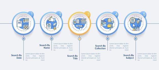 オンライン図書館情報アクセスインフォグラフィックテンプレート。プレゼンテーションのデザイン要素を閲覧する。 5つのステップによるデータの視覚化。タイムラインチャートを処理します。線形アイコンのワークフローレイアウト