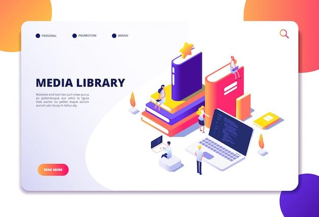 Онлайн библиотека изометрической концепции. люди в библиотеку, книги ноутбуки. технология чтения электронной библиотеки целевой страницы
