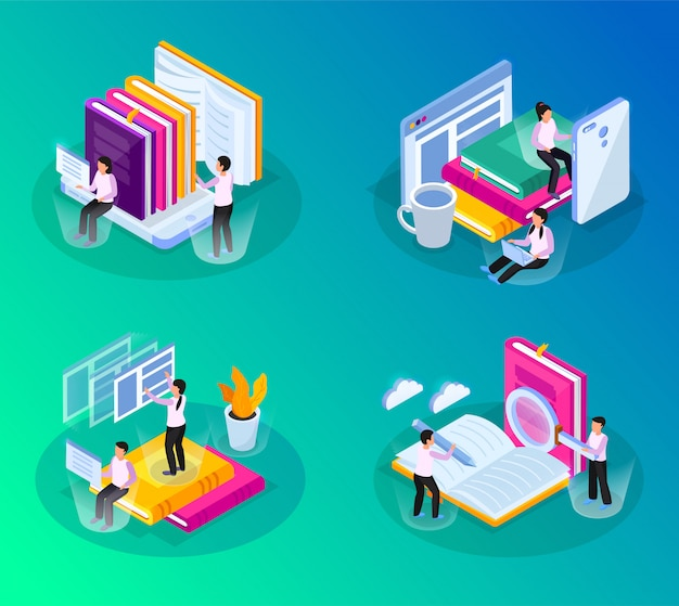 Online library isometric glow 4x1 set with compositions of conceptual images with books gadgets and people