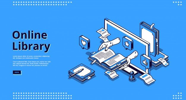 Online library isometric landing, internet service