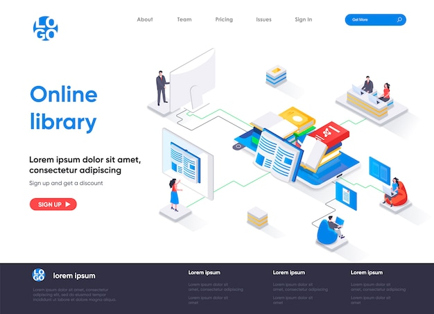 Online library isometric landing page