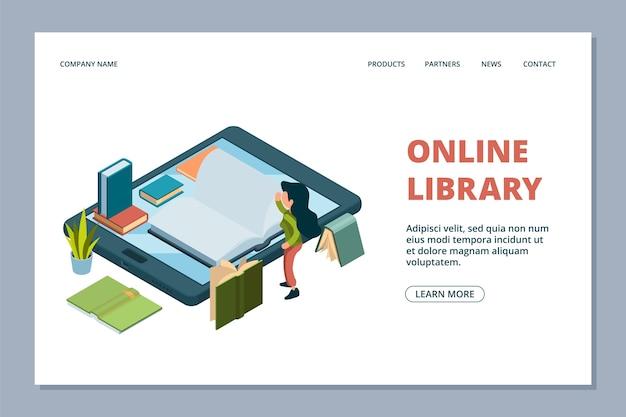 オンライン図書館のランディングページ。等尺性の本と読書の女の子のイラスト。スマートフォンのライブラリ。オンラインブックスクール、コンピューターデバイスでの女の子の勉強