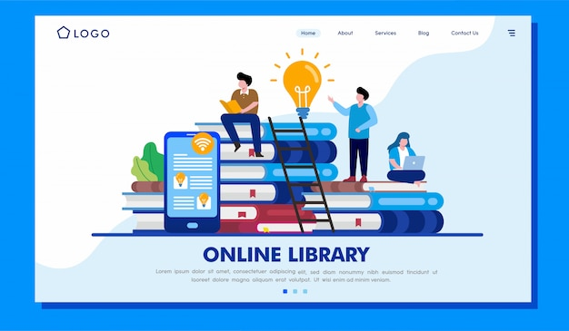 Online library landing page website illustration