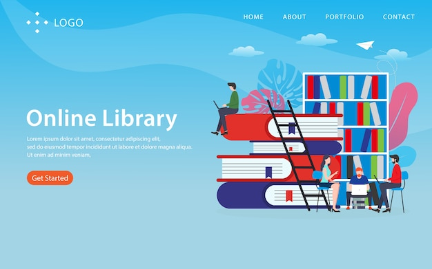Online library landing page