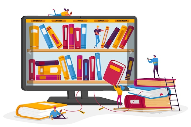 Online library and media books archive concept.