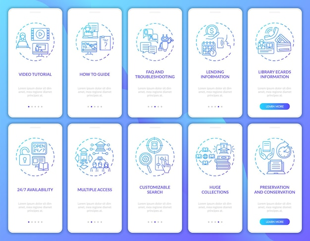 온라인 라이브러리 온 보딩 모바일 앱 페이지 화면 개념. 디지털 라이브러리 유형은 10 단계 그래픽 지침을 안내합니다. rgb 색상 삽화가있는 ui 템플릿