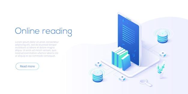 Интернет-библиотека или концепция электронной книги в изометрическом дизайне.