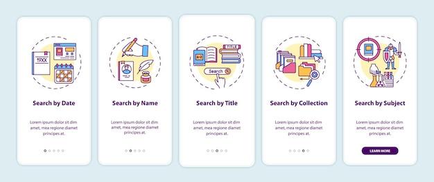 개념이있는 모바일 앱 페이지 화면을 온 보딩하는 온라인 도서관 검색 옵션. 다양한 유형의 검색 연습 5 단계 그래픽 지침. rgb 색상 삽화가있는 ui 템플릿