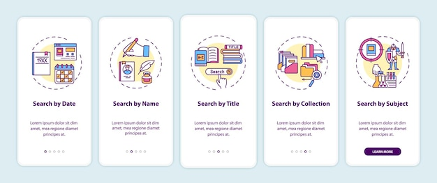 Online library search options onboarding mobile app page screen with concepts. different types of searching walkthrough 5 steps graphic instructions. ui  template with rgb color illustrations