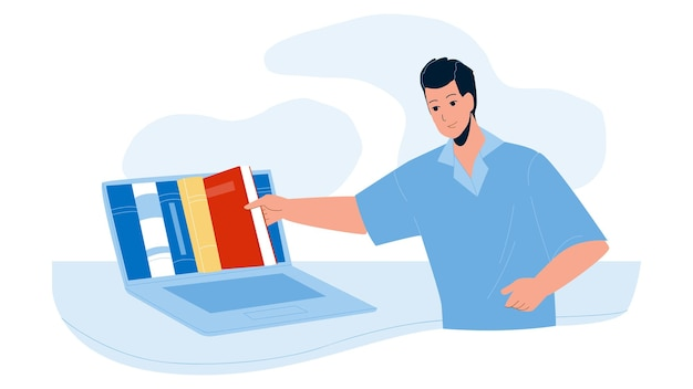 Интернет-библиотека для чтения книги вектора. молодой человек, выбирая литературу в онлайн-библиотеке. персонаж интернет-ресурс для образования и досуга плоский мультфильм иллюстрации