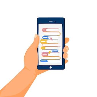 온라인 도서관 상점 개념 인간의 손과 책 더미가 있는 전화 화면
