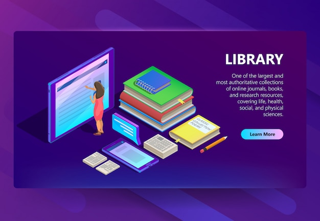Online library in smartphone illustration