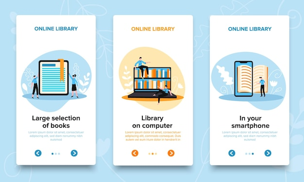 Online library vertical banners set with editable text page switch buttons with arrows