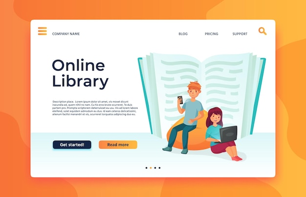 Online library or web archive landing page