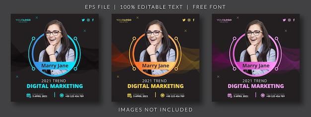 Online live webinar social media post or square banner template