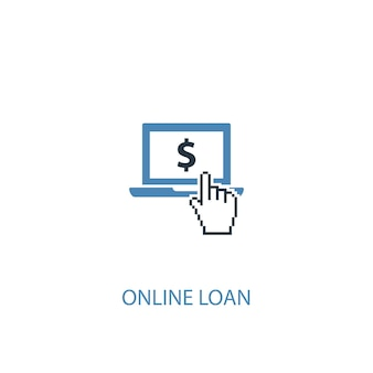 Online loan concept 2 colored icon. simple blue element illustration. online loan concept symbol design. can be used for web and mobile ui/ux