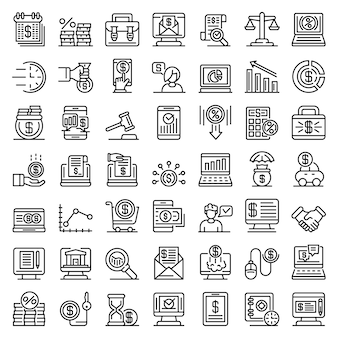 Online loan icons set, outline style