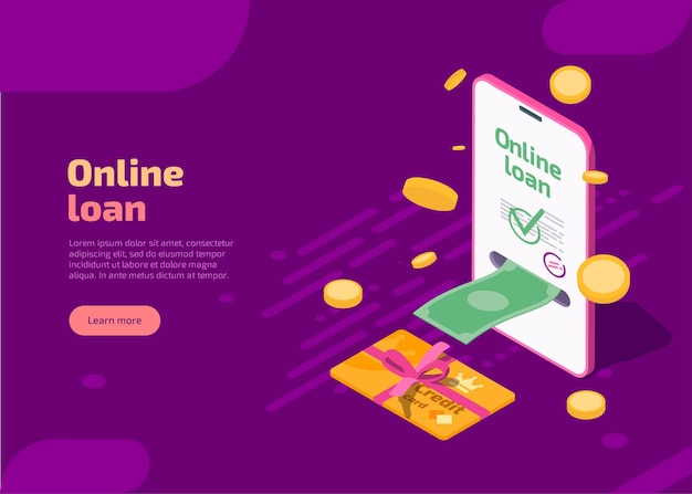 Online loan landing page with phone and cash