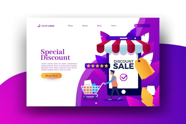 Online local shop sale web landing page