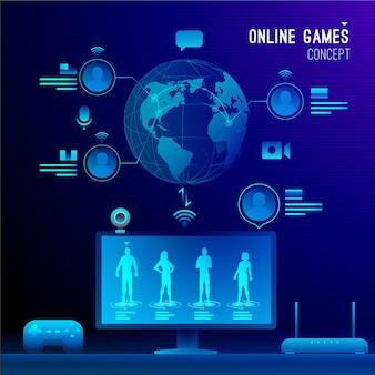 Concetto di videogiochi online e locale