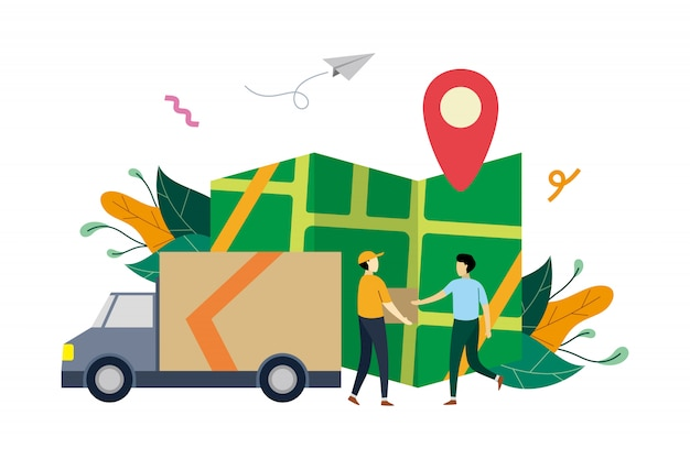 Online logistic delivery service, order tracking flat illustration with small people