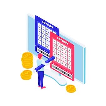Illustrazione isometrica della lotteria online con l'uomo che compila i biglietti sul computer 3d