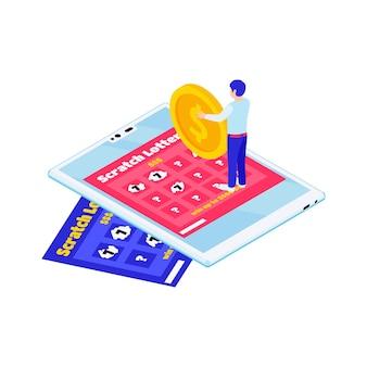 스크래치 카드 가제트와 금화 3d를 들고 있는 캐릭터가 있는 온라인 복권 아이소메트릭 그림