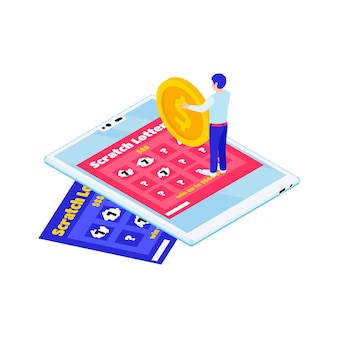 Online lottery isometric illustration with scratch cards gadget and character holding gold coin 3d