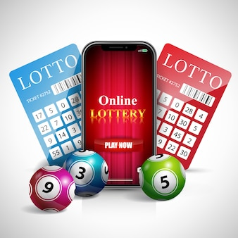 Online lottery lettering on smartphone screen, tickets and balls.