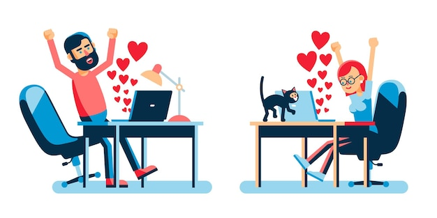 ノートパソコンの心の兆候を持つオンライン愛好家