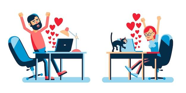 Интернет-любители с сердечками в ноутбуке