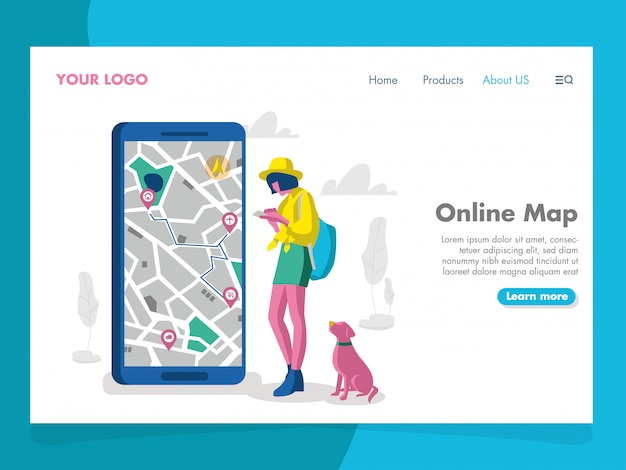 Online map illustration for landing page