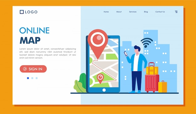 Online map landing page website illustration