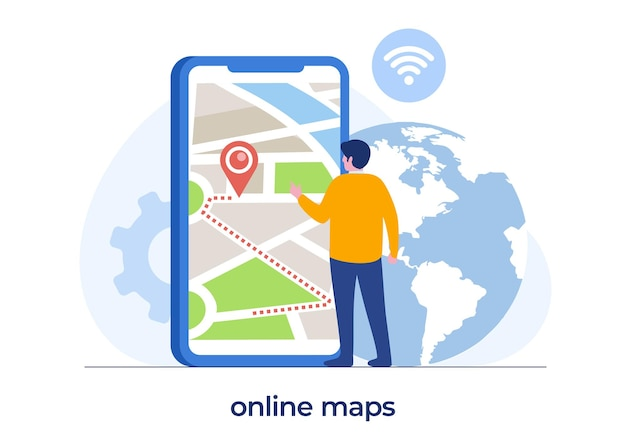 Online maps technology, man with a smartphone, digital maps, navigation and direction, flat illustration vector banner