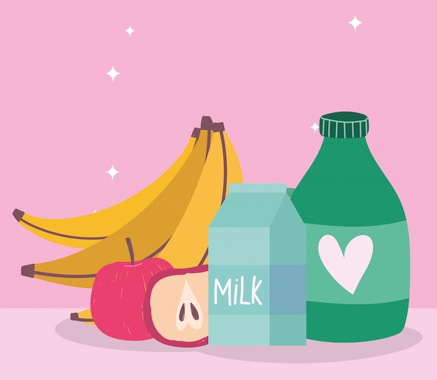 Online market, banana apple milk juice bottle, food delivery in grocery store