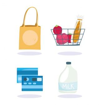 Online market, basket bank card milk and bag, food delivery in grocery store illustration