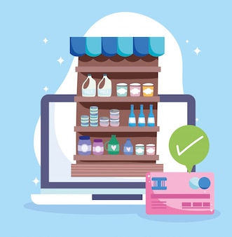 Online market, computer bank credit card merchandises, food delivery in grocery store