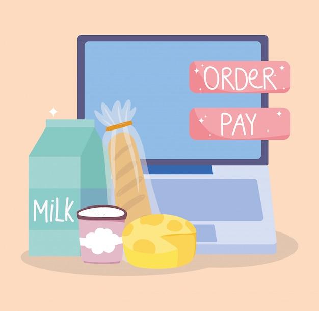 オンライン市場、コンピューターパンチーズミルクの注文の支払い、食料品店の図に食品配達