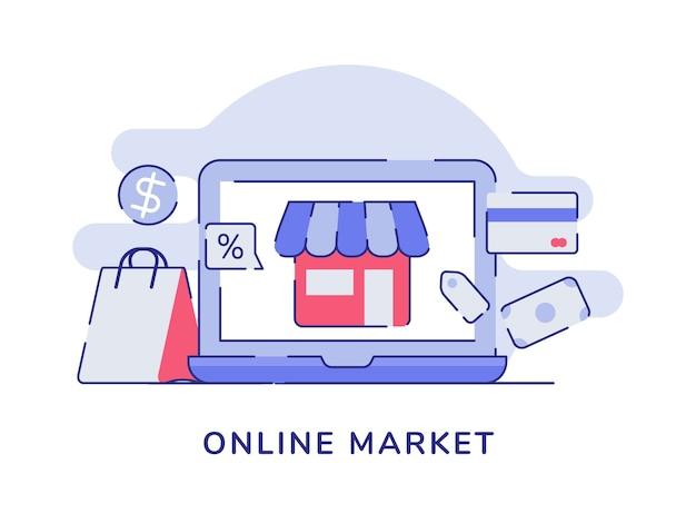 Интернет-рынок концептуальный магазин на дисплее экран ноутбука бумажный пакет карта банк деньги валюта Premium векторы