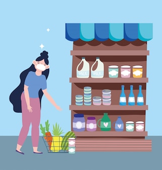 Online market, girl with mask in the supermarket, food delivery in grocery store  illustration