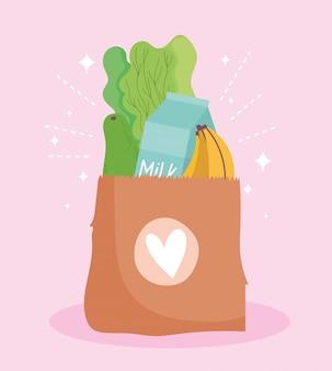 Online market, paper bag with fruit vegetable and milk food grocery shop home delivery illustration