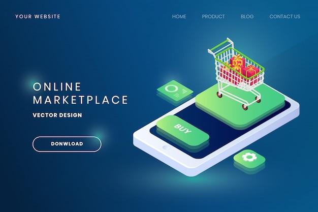 Онлайн рынок место иллюстрации