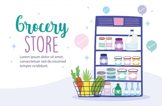 Online market, refrigerator showcase shopping basket and merchandise, food delivery in grocery store illustration Premium Vector