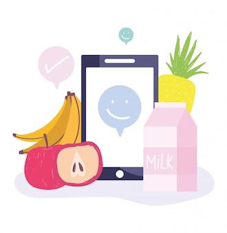 온라인 시장, 스마트 폰 과일 및 우유 식품 식료품 가게 택배 일러스트