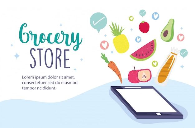 Online market, smartphone order ingredients food delivery in grocery store illustration