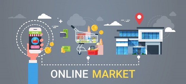 Online market web banner hand holding smart phone ordering products grocery shopping and food delivery concept