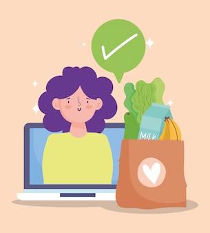 オンライン市場、仮想チェックマークを注文する女性、食料品店の図に食品配達